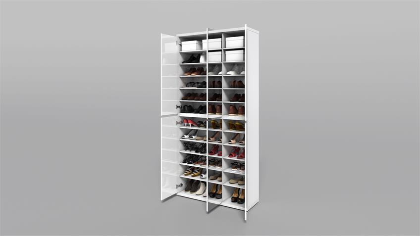 Schuhschrank 2049 Flap weiß Hochglanz Lack Spiegel 54 Paar Schuhe