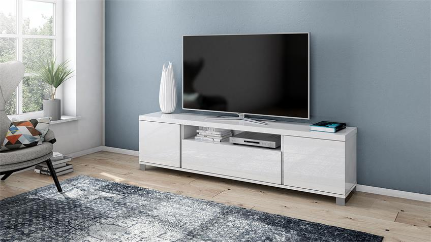 TV-Board 4014 THILA Lowboard weiß Hochglanz Lack 193 cm