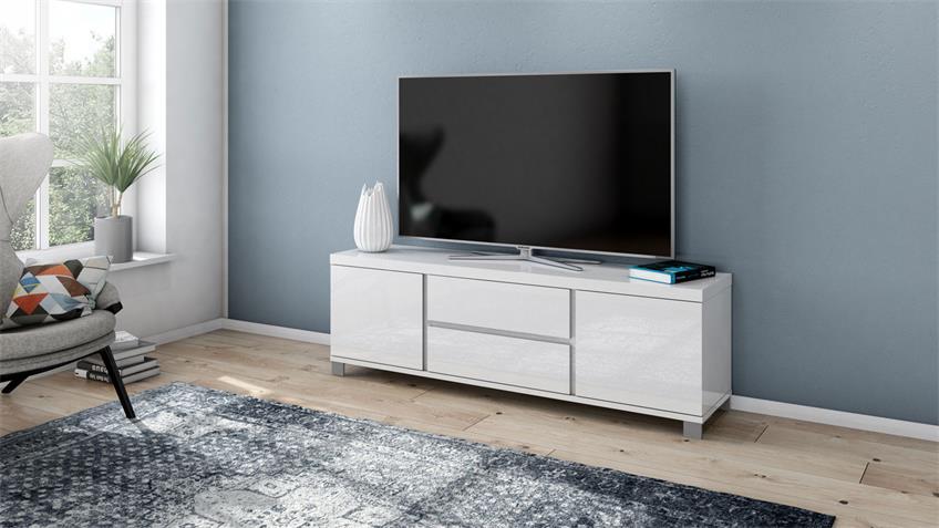 TV-Board 4005 THILA Lowboard weiß Hochglanz Lack 168 cm