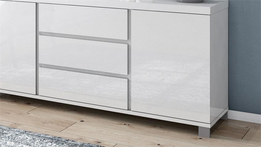 Kommode 4004 THILA Sideboard weiß Hochglanz Lack 168 cm