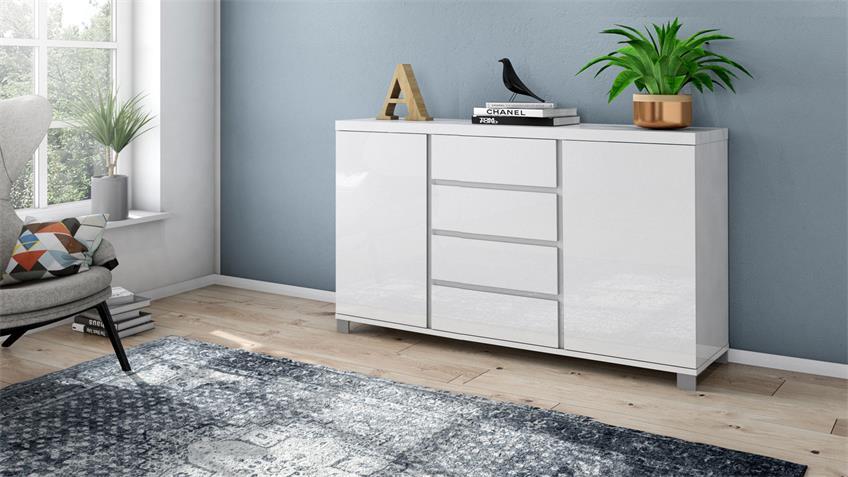 Kommode 4002 THILA Sideboard weiß Hochglanz Lack 152 cm