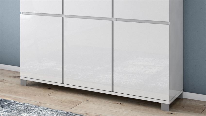 Kommode 4003 THILA Schrank in weiß Hochglanz Lack 152 cm