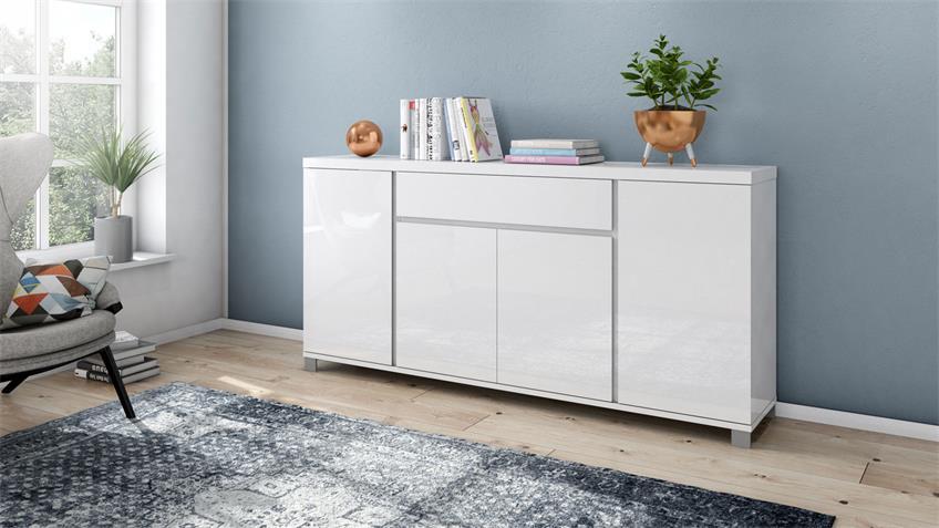 Sideboard 4015 THILA Kommode weiß Hochglanz Lack 193 cm
