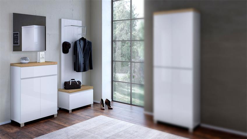 Garderobenset 1 THILA in weiß Hochglanz Lack und Eiche