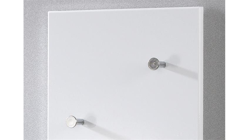 Wandgarderobe BIG EDDY in weiß Hochglanz und Chrom Nickel