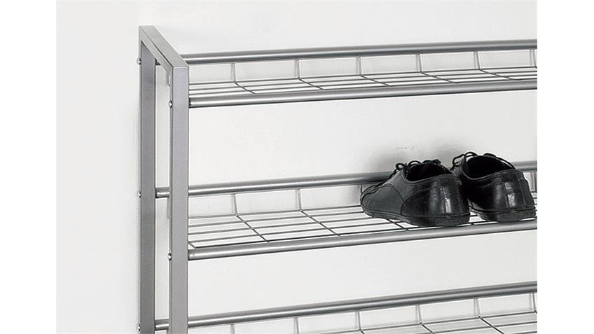 Schuhregal JUPP Stahl in alufarben für 20 Paar Schuhe
