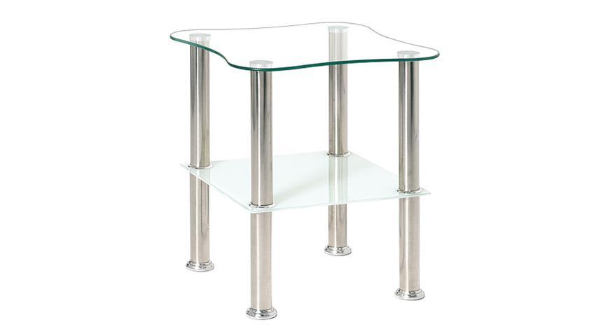 Beistelltisch 33310 Glas Weiß Lack und Edelstahl