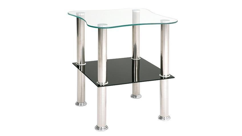 Beistelltisch KLECKS Glas Schwarz Lack und Edelstahl