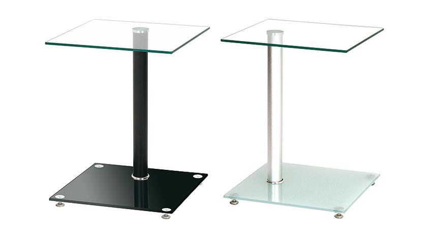 Beistelltisch Glas Schwarz lackiert und Glas klar