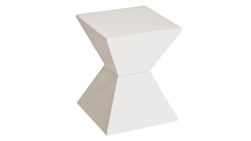 Beistelltisch 87300 Kunststoffguß weiß Hochglanz Lack 35x35 cm