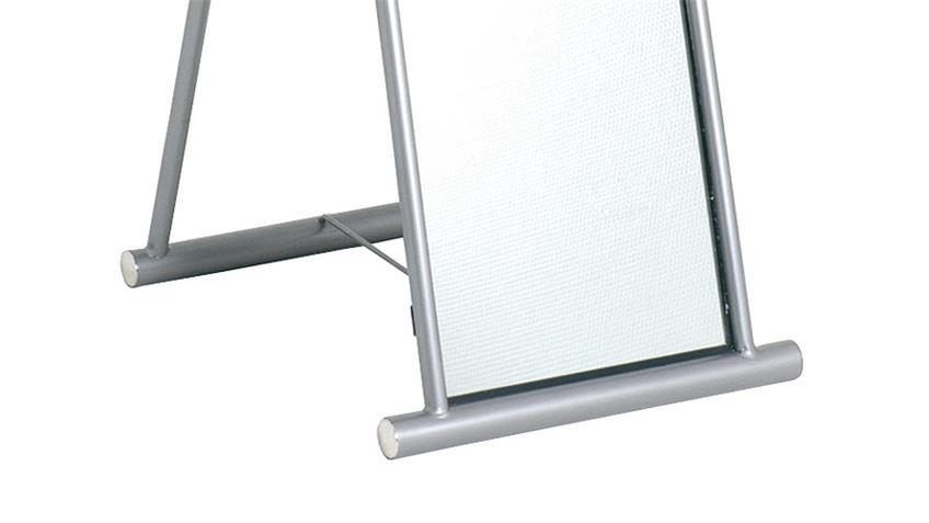 Standspiegel 89789 Spiegel aus alufarbenem Stahl Stahlrohr