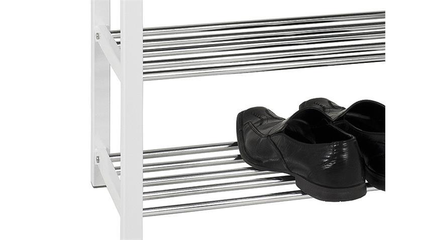 Hocker MARKUS Sitzbank schwarz und weiß Lack mit Chrom