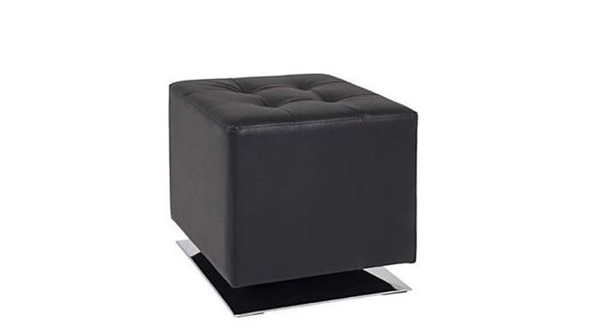 Hocker schwarz und Stahl verchromt drehbar 40x40 cm