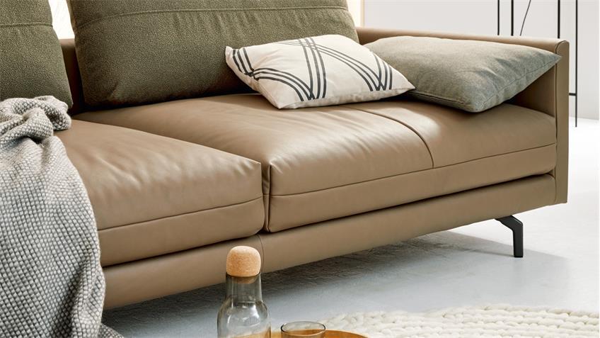 Hülsta Sofa von Rolf Benz 4-Sitzer 414 Leder beige Kissen ...