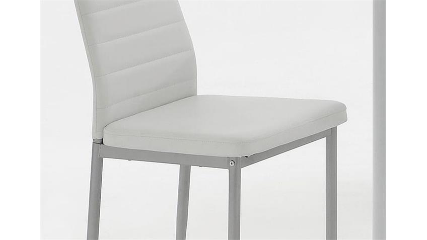 Stuhl SIMONE Esszimmerstuhl in weiß und Alufarben 4er-Set