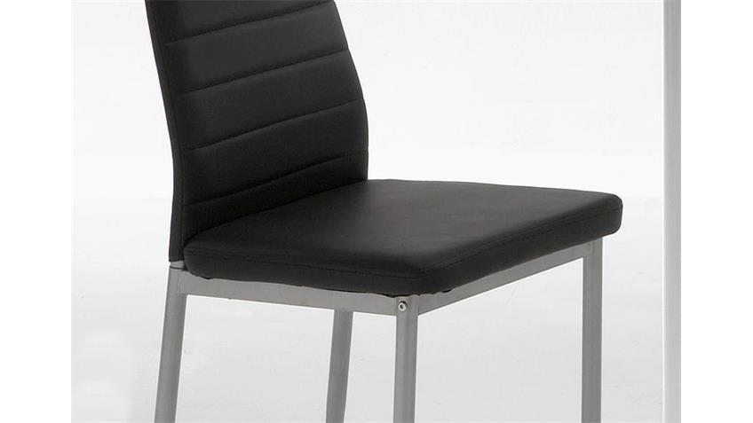 Stuhl SIMONE Esszimmerstuhl 4er Set schwarz und Alufarben