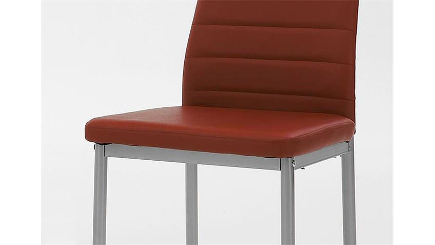 4er-Set Stuhl SIMONE Rot-Bordeaux/alufarben