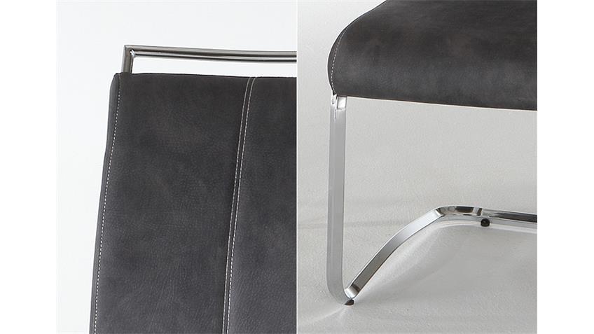 4er-Set Schwingstuhl MICHELLE  Anthrazit/ Naht Weiß