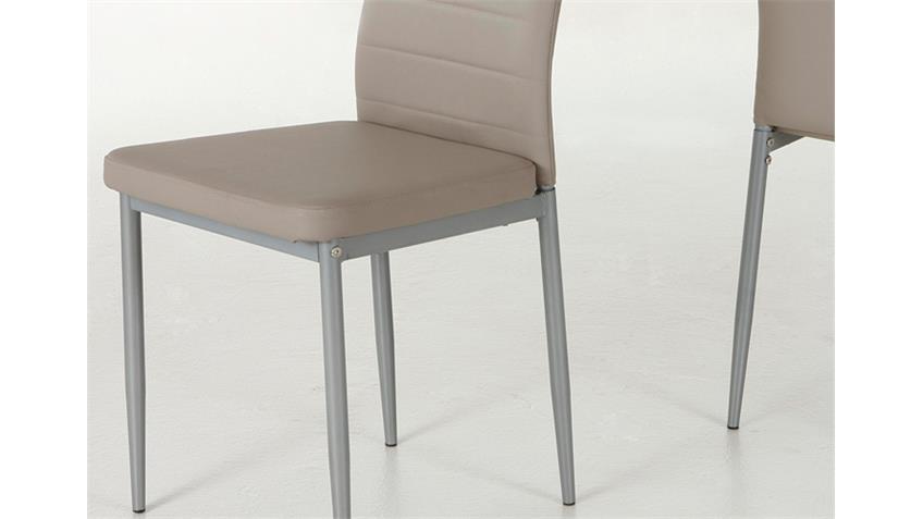 4er-Set Stuhl SIMONE Cappuccino Gestell alufarben
