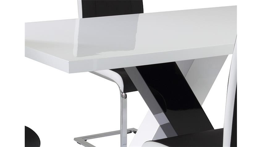 Esstisch XENIA 140x80 MDF schwarz weiß Hochglanz lackiert