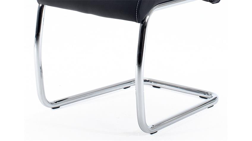 Schwingstuhl FLORA 4er Set in schwarz Naht weiß Chrom