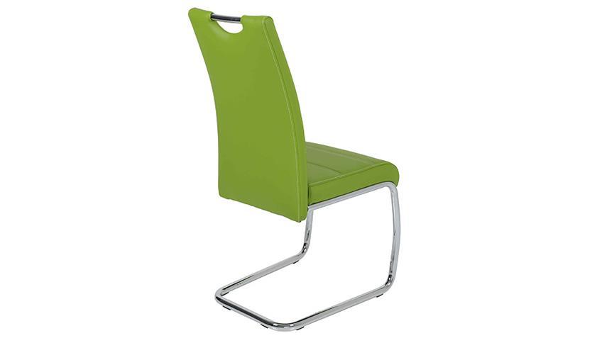 Schwingstuhl FLORA 4er Set in grün Naht weiß Chrom