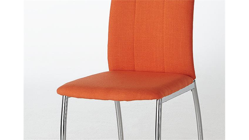 Stuhl ANKE Esszimmerstuhl in orange und Chrom 4er Set