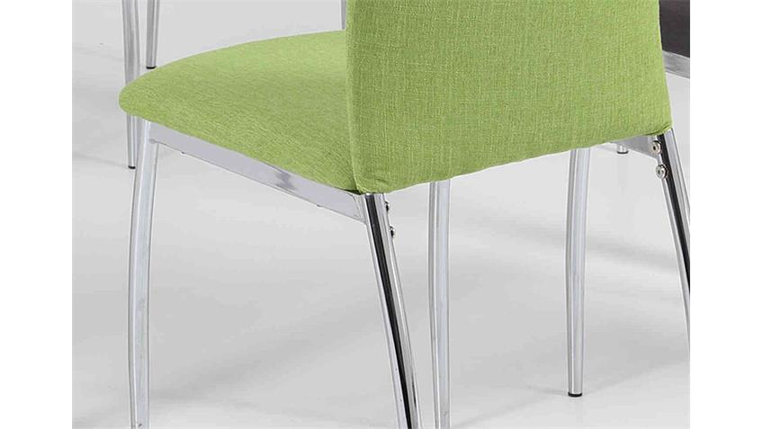 Stuhl ANKE Esszimmerstuhl in grün und Chrom 4er Set