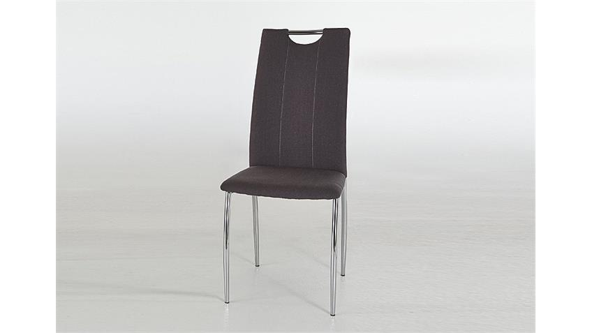 Schwingstuhl ANKE Esszimmerstuhl 4er Set in grau und Chrom