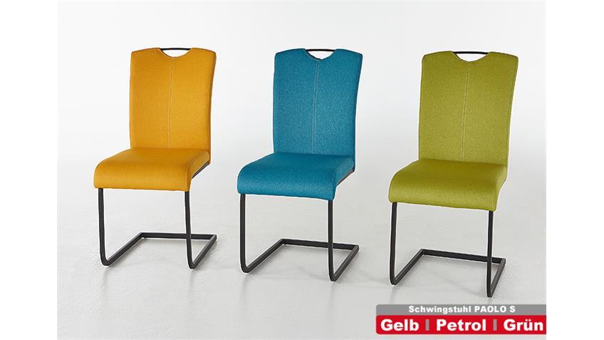 Stuhl PAOLO 4er Set Esszimmerstuhl in gelb und schwarz