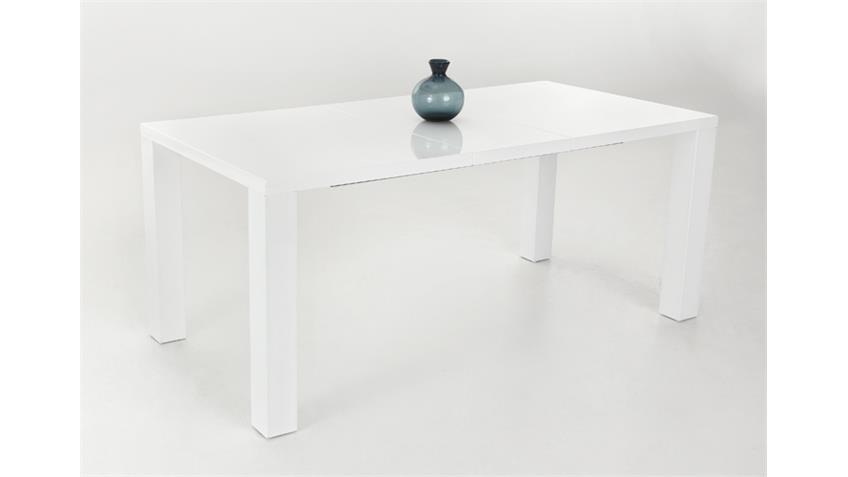 Esstisch JOLINE 140x90 Weiß Hochglanz lackiert, ausziehbar