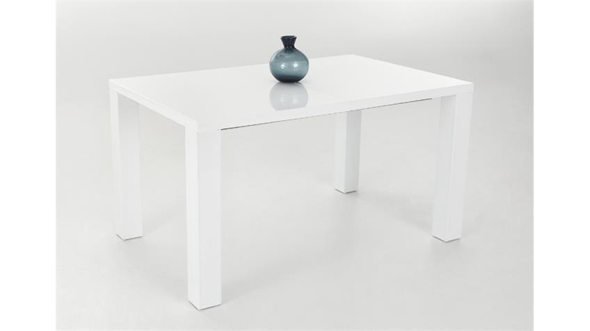 Esstisch JOLINE 160x90 Weiß Hochglanz lackiert, ausziehbar
