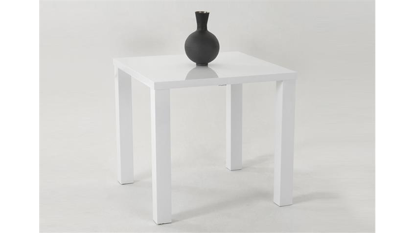 Esstisch JOLINE 80x80 Weiß Hochglanz lackiert, ausziehbar