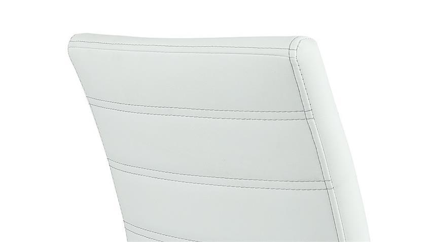 Stuhl Sina 4er Set Lederlook Weiß Naht Grau