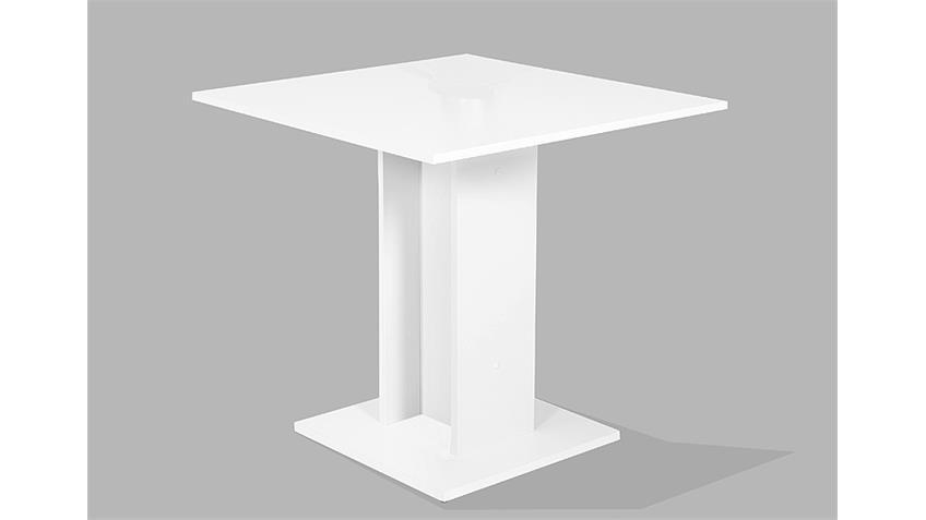 Säulentisch MANDY Tisch Esstisch Küchentisch weiß 80x80 cm