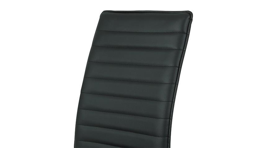 Stuhl NINA 4er Set schwarz mit Keder und Steppnähten