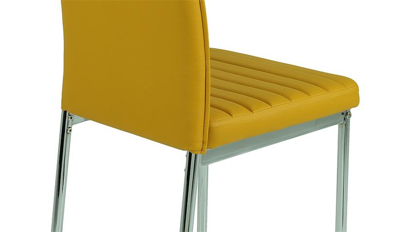 Stuhl NINA 4er Set curry gelb mit Keder und Steppnähten