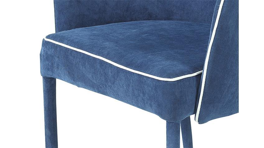 Armlehnstuhl AMBRA 2er Set Cordstoff blau