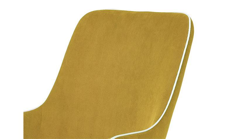Armlehnstuhl AMBRA 2er Set Cordstoff gelb