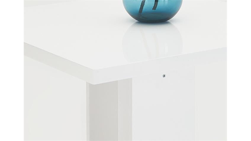 Säulentisch BEATE MDF weiß Hochglanz lackiert 80x80