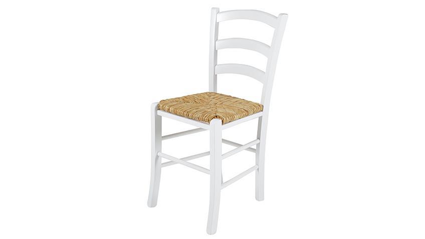 Stuhl CAPRI II 2er Set Buche massiv weiß Binsengeflecht