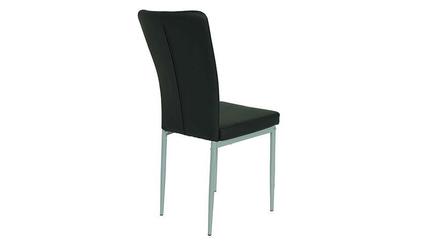 Stuhl VICKY I 4er Set in schwarz mit Steppnähten