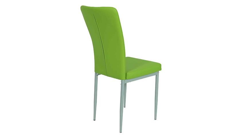 Stuhl VICKY I 4er Set in grün mit Steppnähten