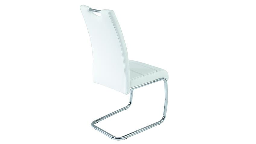 Schwingstuhl FLORA 4er Set in weiß Naht grau Chrom