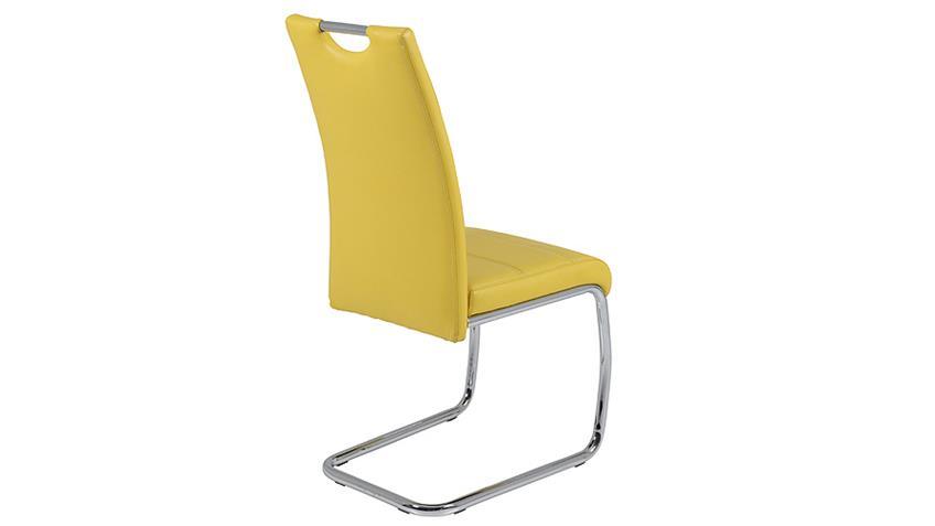 Schwingstuhl FLORA 4er Set in gelb Naht weiß Chrom