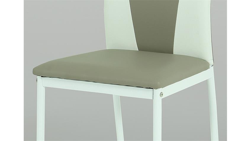 Stuhl MILA 4er Set cappuccino und weiß Gestell lackiert