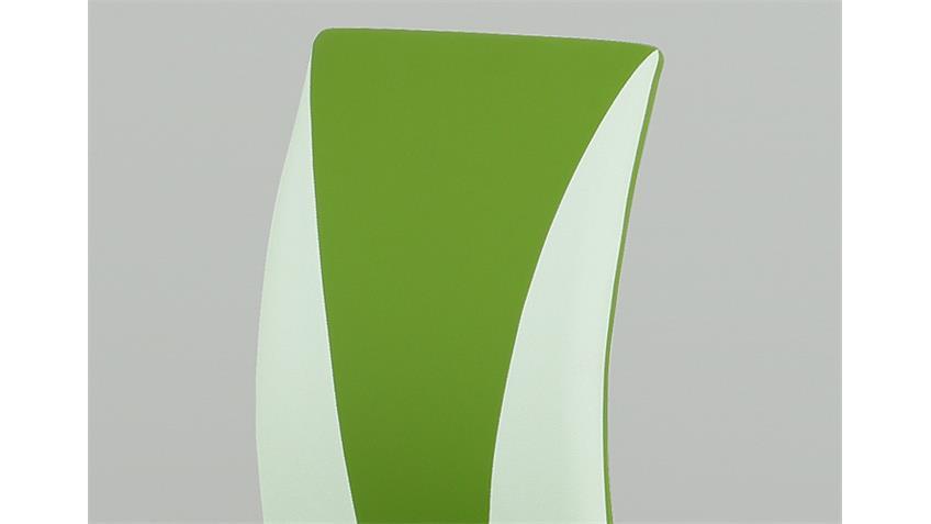 Stuhl MILA 4er Set grün und weiß Gestell lackiert