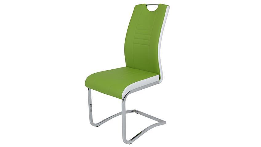Schwingstuhl TABEA 4er Set grün und weiß mit Griff