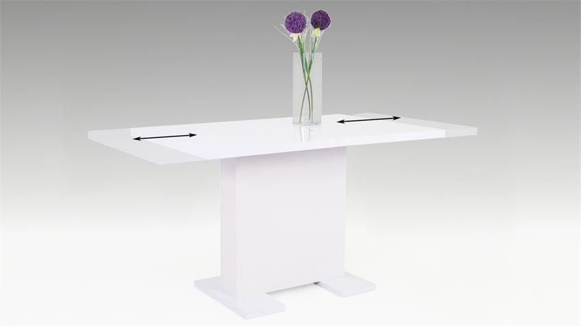 Tisch JULIE Esstisch mit Säule Lack weiß ausziehbar 120-160