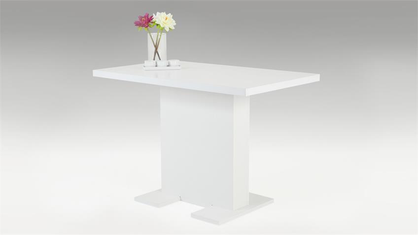 Tisch SASKIA Esstisch mit Säulengestell weiß Dekor 110x68 cm